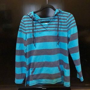 Navy and teal striped hooded pullover sweatshirt